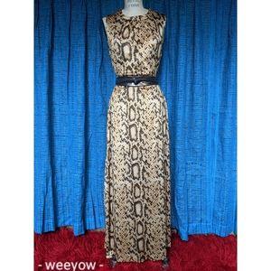 🐍Vintage 60s-70s snakeskin maxi dress M GUC